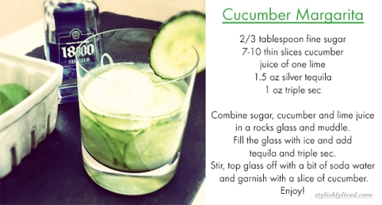 Cucumber Margarita from StylishlyLived.com