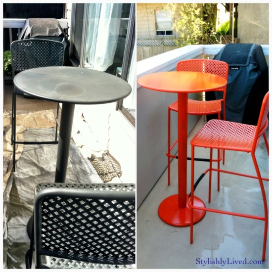 making the old, new - re-done garden bistro set
