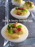 Delicious spicy and smoky appetizer – deviled eggs with bacon andjalapeno